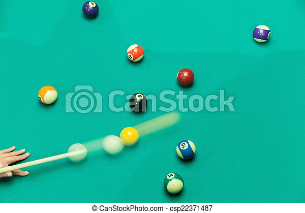 Breaking Pool Balls on green table - csp22371487