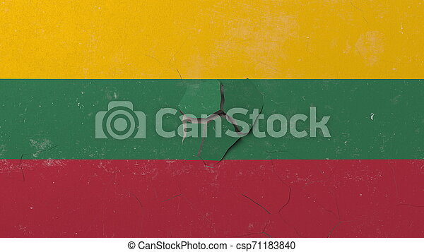 Breaking wall with painted flag of Lithuania. Lithuanian crisis conceptual 3D rendering - csp71183840