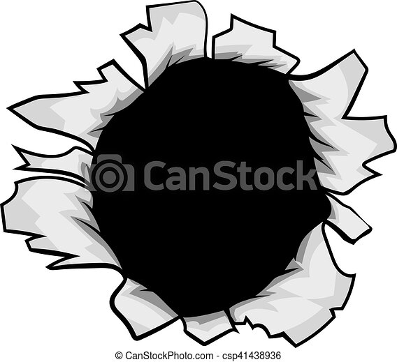 breakthrough paper ripped hole a hole torn in the paper or rh canstockphoto com
