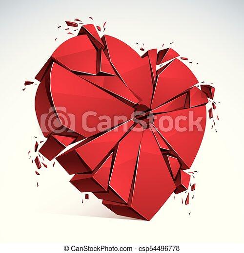 Breakup Concept Of Broken Heart 3d Realistic Vector Illustration Symbol Exploding To