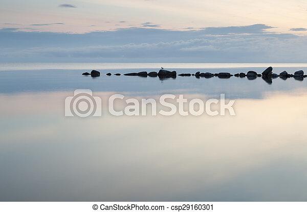 Breakwater Rocks in Calm Sea - csp29160301