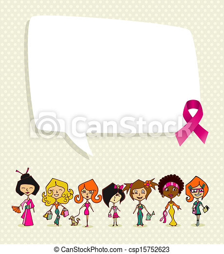 Breast cancer awareness concept illustration. Global diversity women communication idea, social media speech bubble and ribbon symbol. EPS10 vector file organized in layers for easy editing. - csp15752623