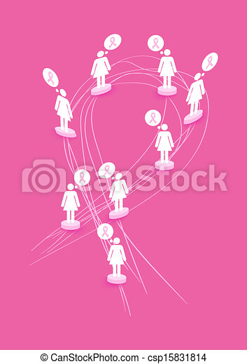 Breast cancer awareness concept illustration: Women figures over abstract ribbon symbol shape. EPS10 vector file with transparency organized in layers for easy editing. - csp15831814