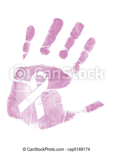 Breast Cancer Awareness handprint  - csp5169174
