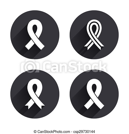 Breast Cancer Awareness Icons Ribbon Signs Breast Cancer Awareness