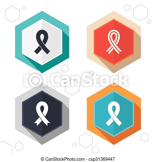 Breast Cancer Awareness Icons Ribbon Signs Hexagon Buttons Breast