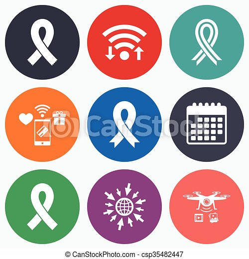 Breast Cancer Awareness Icons Ribbon Signs Wifi Mobile Payments