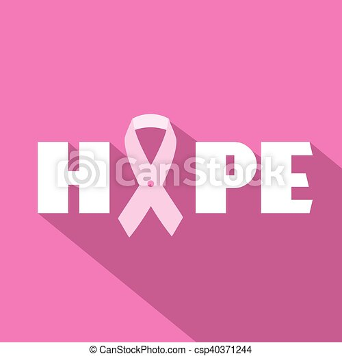 Breast cancer awareness month vector illustration with hope slogan and pink ribbon symbol - csp40371244