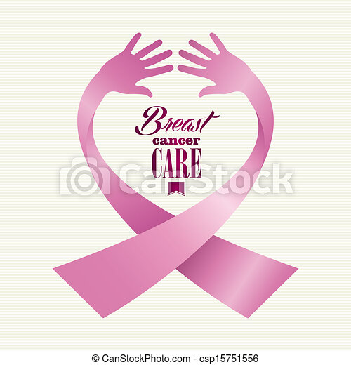 Breast cancer awareness ribbon element text made with human hands. EPS10 vector file organized in layers for easy editing. - csp15751556
