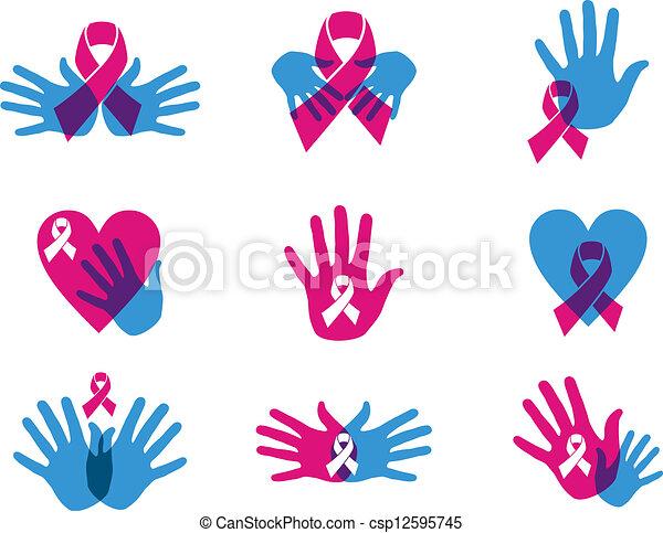 Breast Cancer Awareness Ribbon Set Breast Cancer Awareness Ribbon