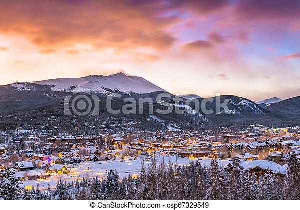 Breckenridge, Colorado, USA Town Skyline in Winter - csp67329549