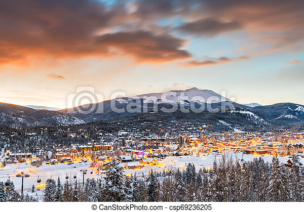 Breckenridge, Colorado, USA Town Skyline in Winter - csp69236205