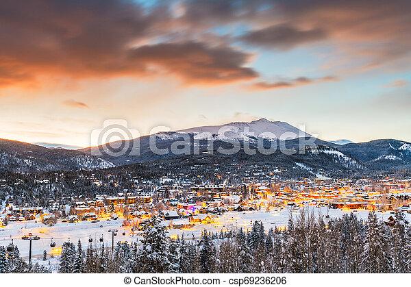 Breckenridge, Colorado, USA Town Skyline in Winter - csp69236206