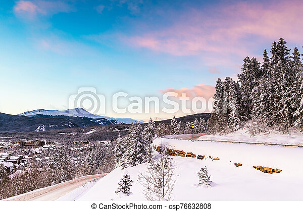Breckenridge, Colorado, USA town skyline in winter - csp76632808