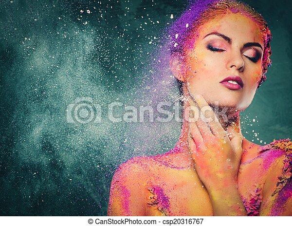 breekbaarheid, vrouw lichaam, kunst, schepsel, conceptueel, menselijk - csp20316767