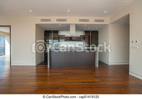 Breit Zimmer Kitchen Inneneinrichtung Wohnung Leerer