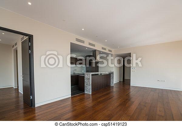 Inneneinrichtung Wohnung breit zimmer kitchen inneneinrichtung wohnung leerer stockfoto