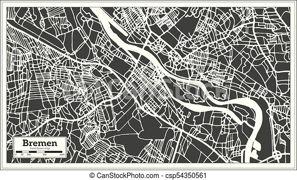 Bremen germany city map in retro style. outline map. vector ...
