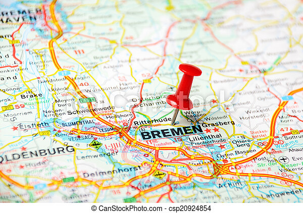 Bremen ,germany map. Close up of bremen map with red pin - travel ...