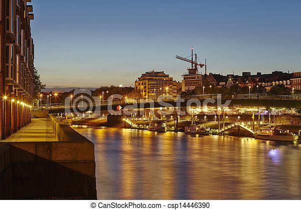 Bremen, Germany - River Weser, Teerhof and Schlachte-Riverside in the evening - csp14446390
