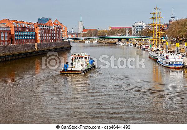 Bremen. River tugboat on the river Weser. - csp46441493