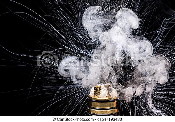 brennender, vaporizing, zubehörteil, cigarette., e-cig, glycerin, populär, e-liquid, elektronisch, vape - csp47193430