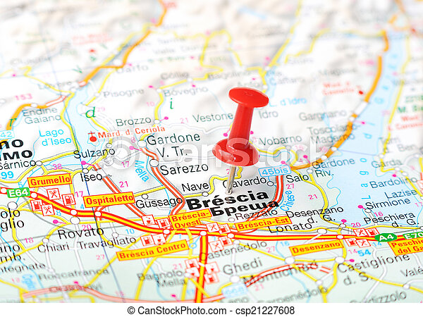 Brescia italy map Close up of brescia italy map with red stock