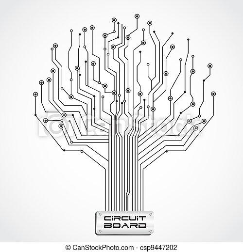 brett, stromkreis, geformt, baum - csp9447202