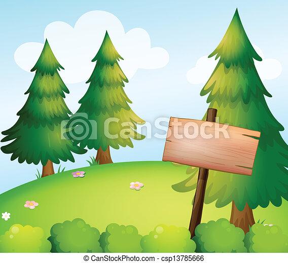 Ein leeres Holzschild im Wald - csp13785666