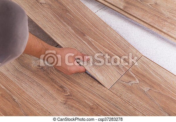 bretter, laminat, installieren, zimmermann, futter, parkett, flooring.