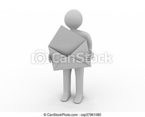 brevbärare, avbild, envelope., isolerat, öppna, 3 - csp37961080