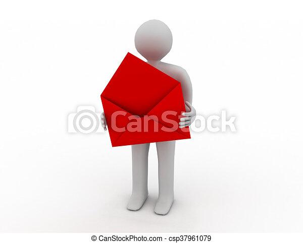 brevbärare, avbild, envelope., isolerat, öppna, 3 - csp37961079