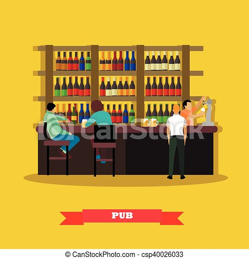 Brewery and beer restaurant concept vector illustration