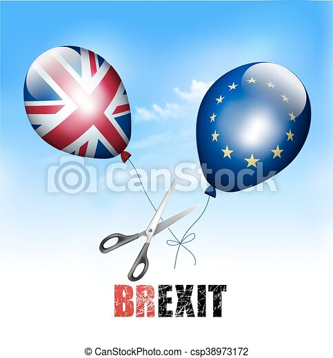 Brexit concept. Scissors cutting EU and UK balloons away from each other. Vector. - csp38973172