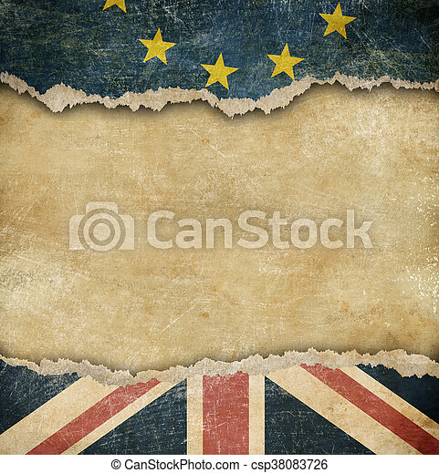Brexit - European union and Great Britain flags on cardboard - csp38083726