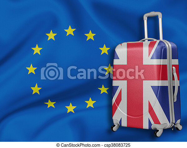 Brexit illustration. British baggage with EU flag behind. - csp38083725