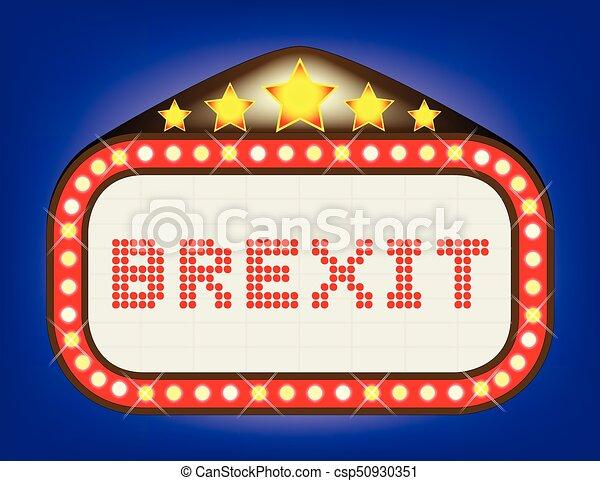 Brexit Movie Theatre Marquee - csp50930351