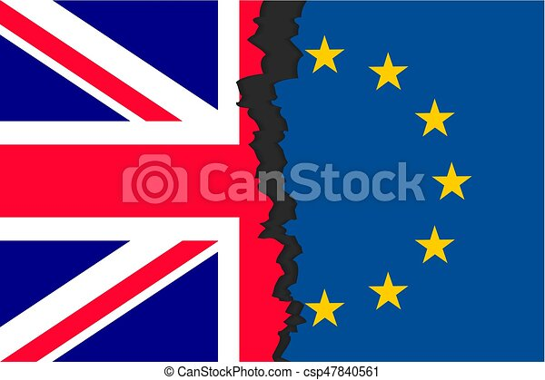 Brexit picture two parts of flags - csp47840561