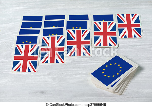 Brexit UK EU referendum will solitaire converge concept, close up - csp37555646