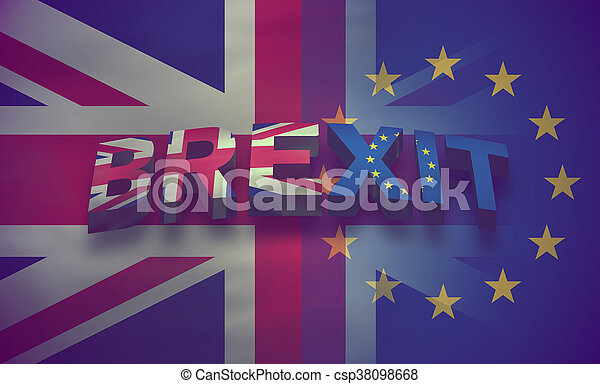 Brexit United Kingdom Flag Background Illustration 3d render - csp38098668
