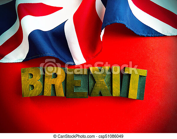 Brexit word with part of British flag on red - csp51086049