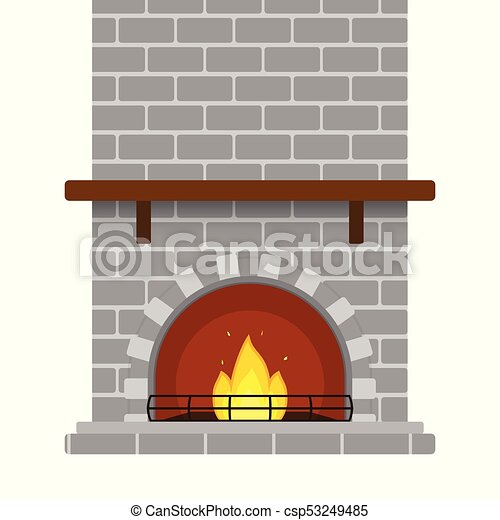 Brick Fireplace Isolated Vector Illustration Of Grey Brick