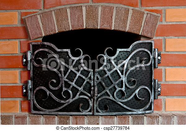 brick fireplace - csp27739784