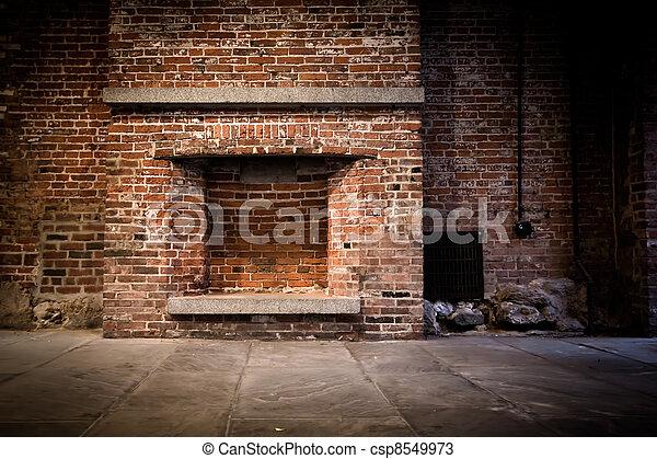 Brick Fireplace - csp8549973