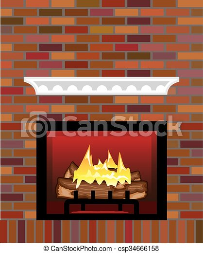 brick fireplace clipart. brick fireplace vector csp34666158 clipart l