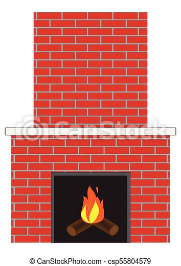 Brick Fireplace With Fire Illustration Of A Brick Fireplace With