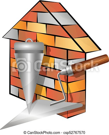 brick house and tools brick house and symbol tool for vectors rh canstockphoto com  red brick house clipart