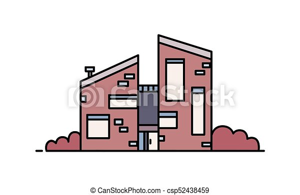 Brick house built in contemporary architectural style using