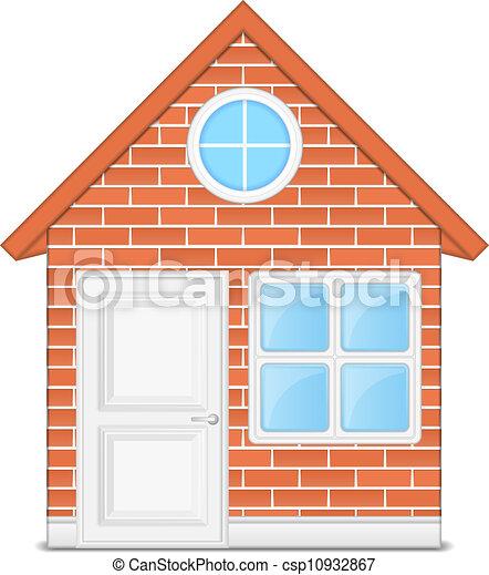 brick house vector eps10 illustration rh canstockphoto com House Clip Art Straw House Clip Art