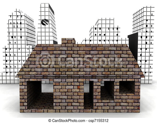 Brick House In Font Of A Skyline Stock Illustration